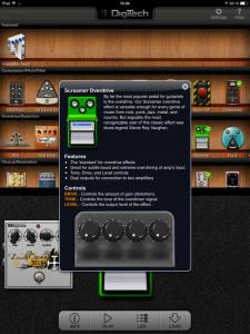 Vu de l'appli iStomp sur l'iPad.